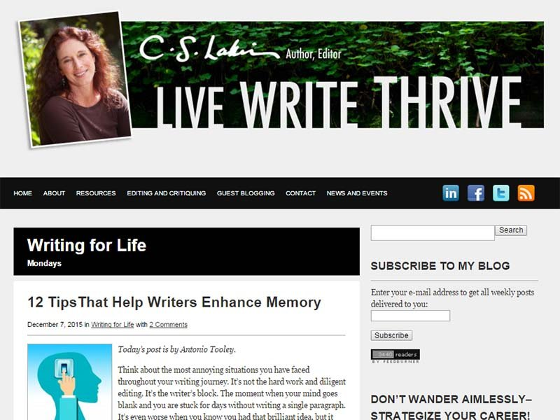 Live Write Thrive - Website Screenshot
