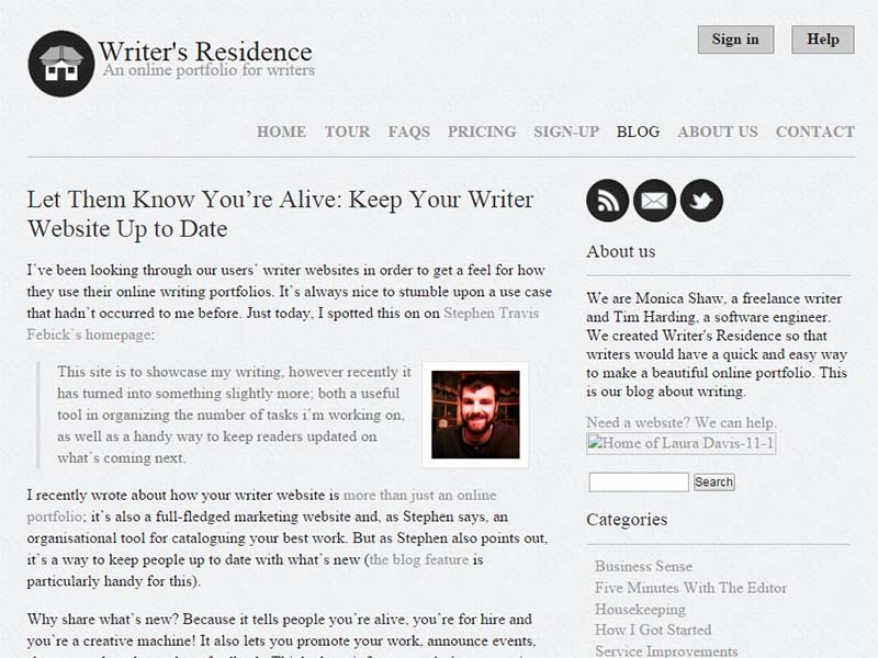 Writer's Residence - Website Screenshot