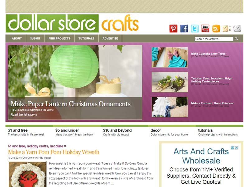 Dollar Store Crafts - Website Screenshot