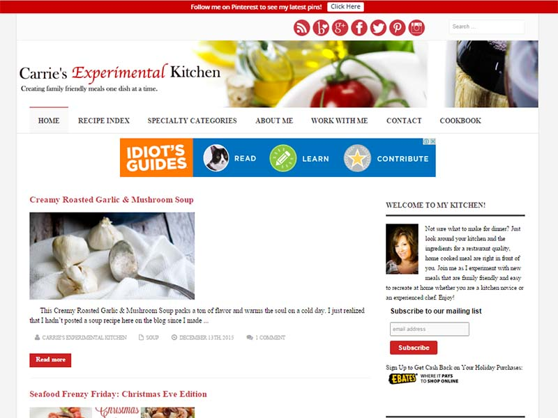Carrie's Experimental Kitchen - Website Screenshot