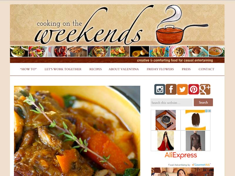Cooking On The Weekends - Website Screenshot