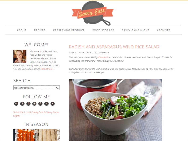 Savvy Eats - Website Screenshot