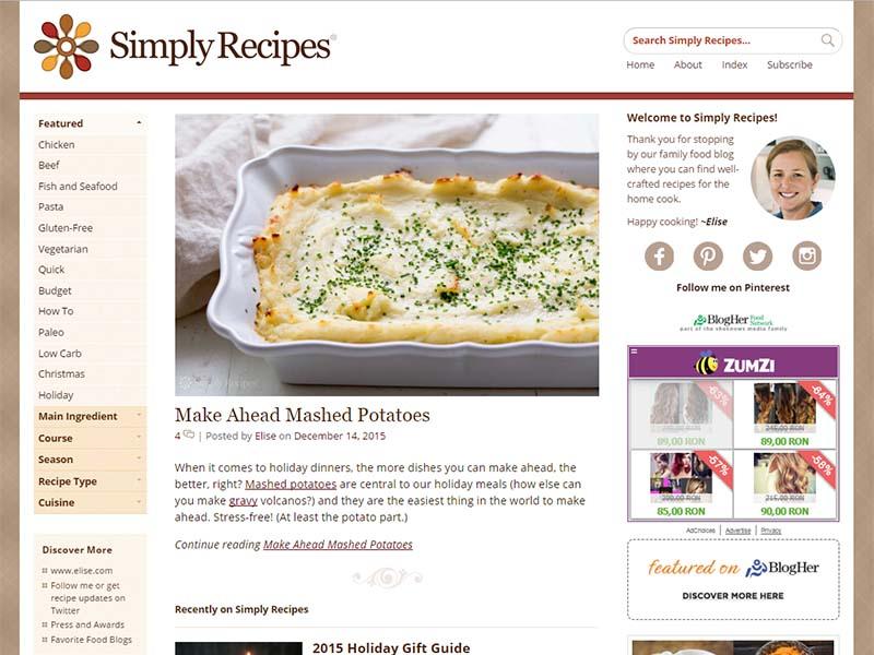 Simply Recipes - Website Screenshot