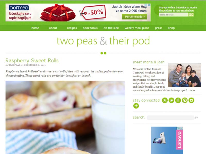 Two Peas and Their Pod - Website Screenshot