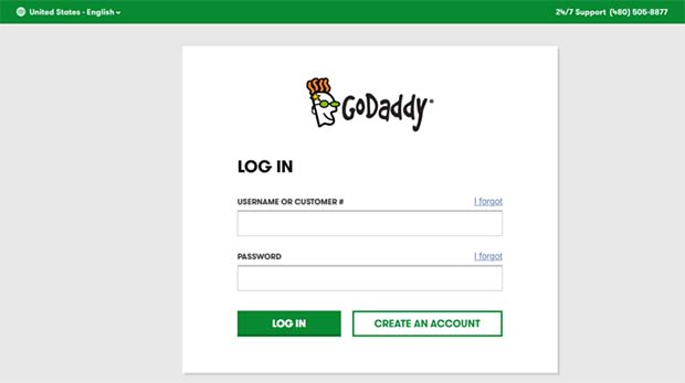 GoDaddy account login page