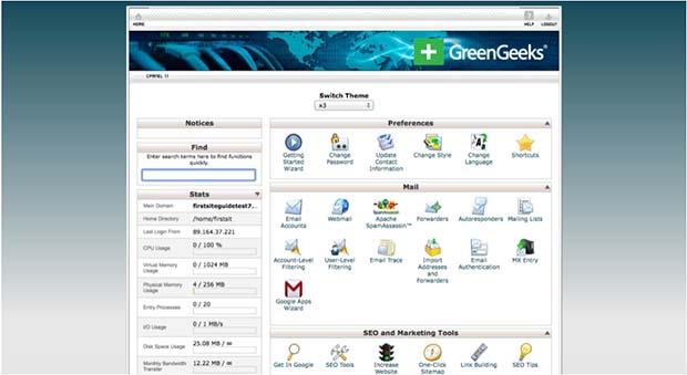 GreenGeeks Control Panel