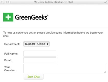 GreenGeeks chat support