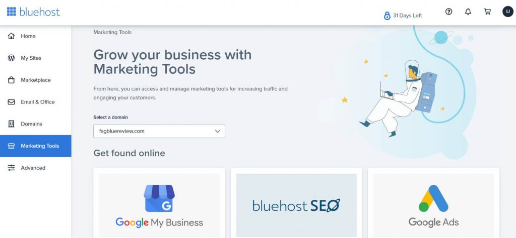 marketing tools section