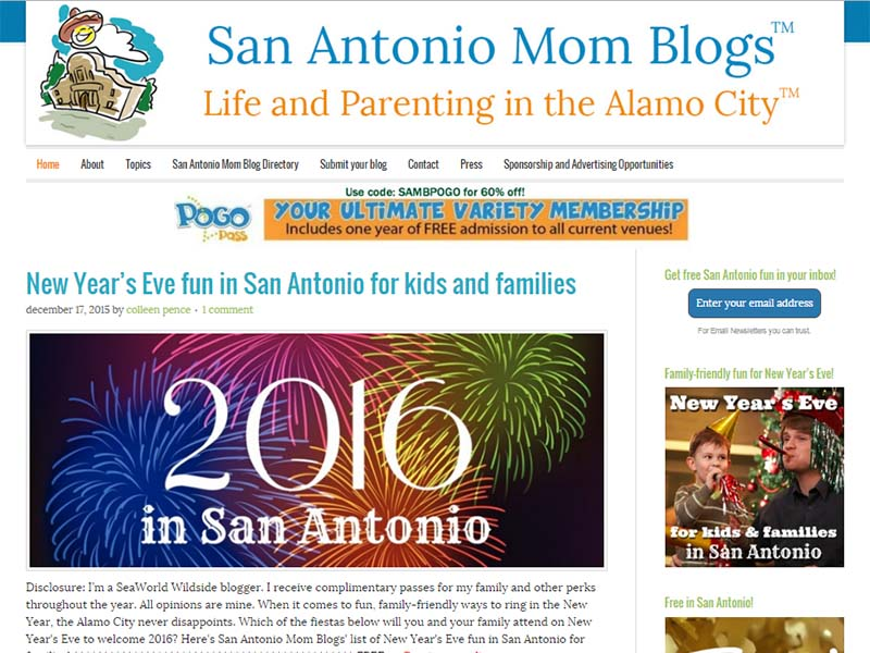 San Antonio Mom Blogs - Website Screenshot