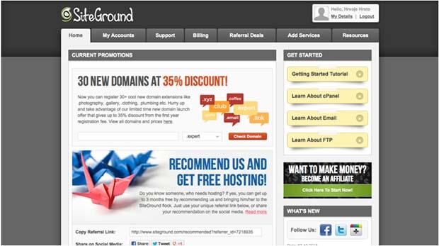 SiteGround User's Area