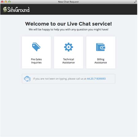 SiteGround chat support