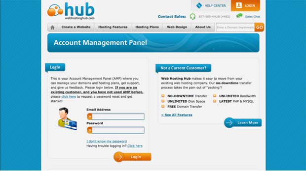 Web Hosting Hub account management panel login screen