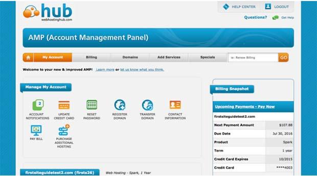 Web Hosting Hub account management panel