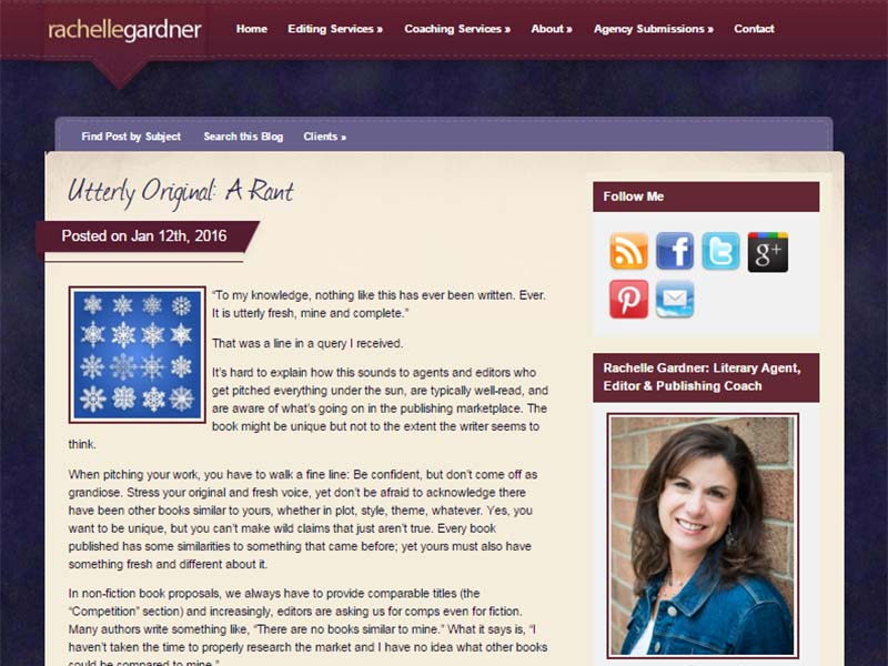 Rachelle Gardner - Website Screenshot
