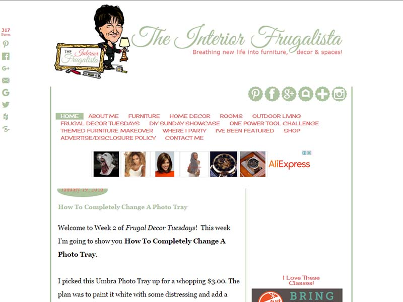 The Interior Frugalista - Website Screenshot