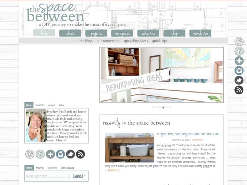 The Space Between - Website Screenshot