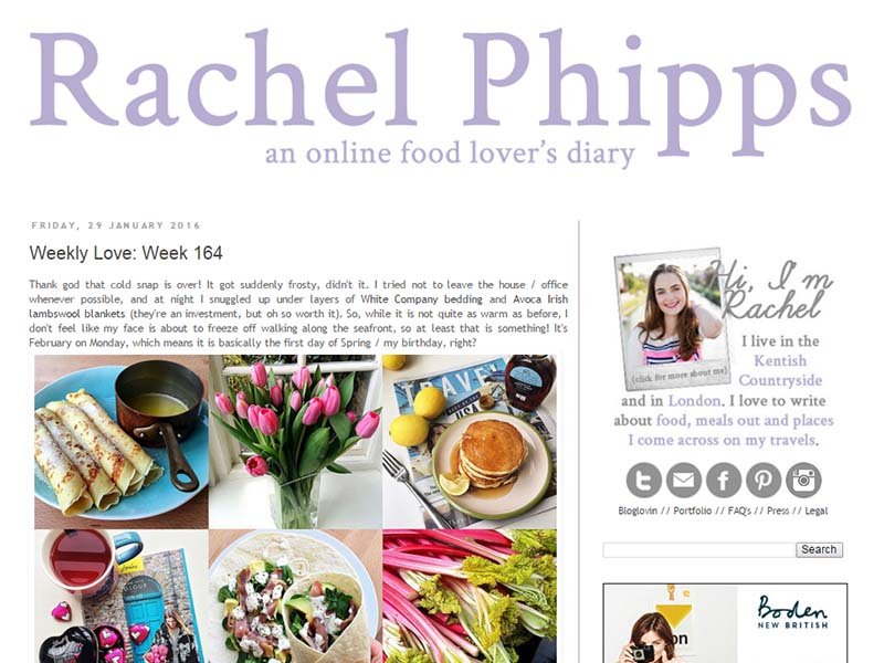 Rachel Phipps - Website Screenshot
