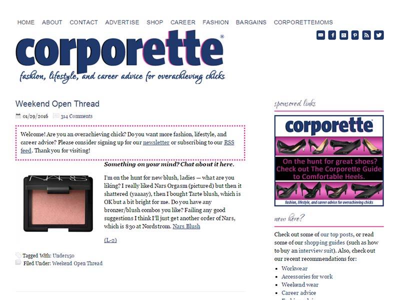 Corporette - Website Screenshot