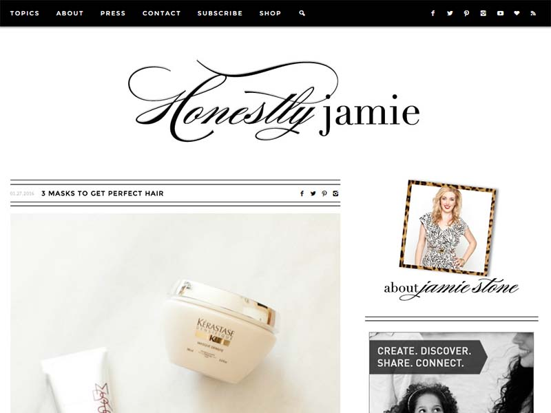 Honestly Jamie - Website Screenshot