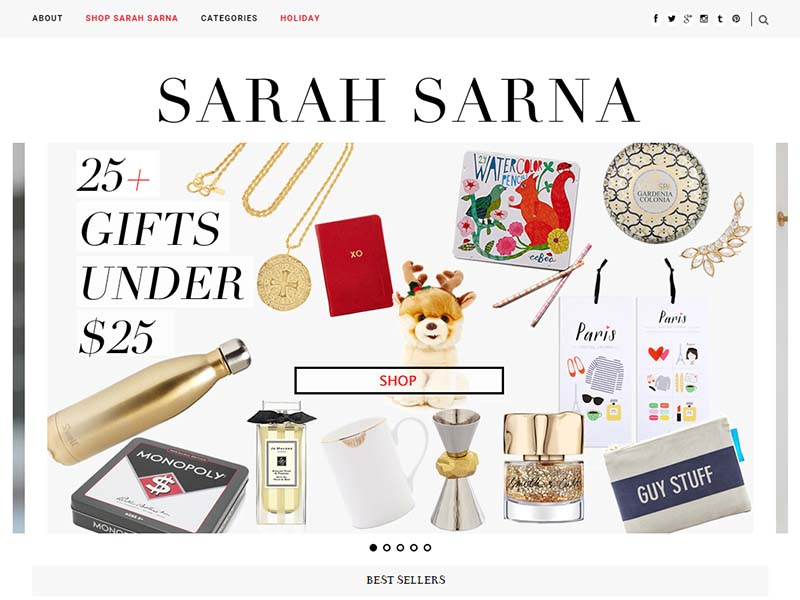 Sarah Sarna - Website Screenshot