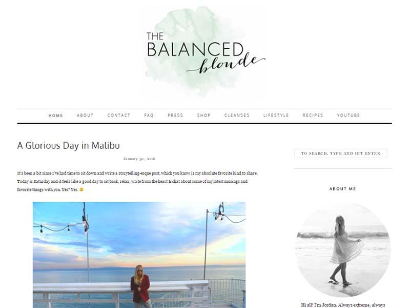 The Balanced Blonde - Website Screenshot