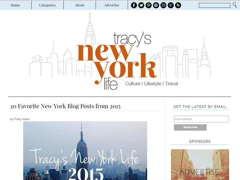 Tracy's New York Life - Website Screenshot