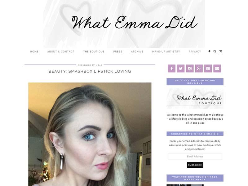 What Emma Did - Website Screenshot