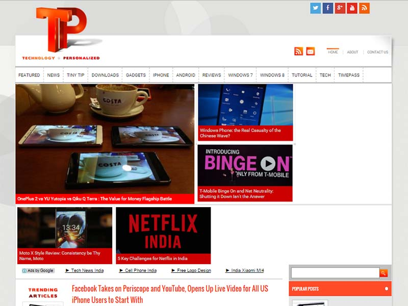 Technology Personalized - Website Screenshot