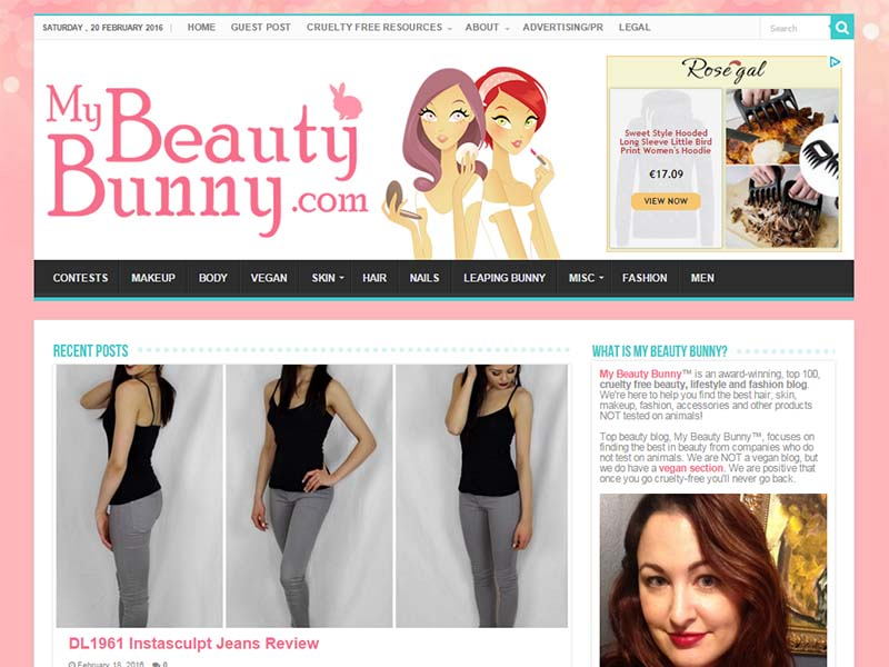 My Beauty Bunny - Website Screenshot