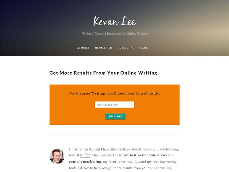 Kevan Lee - Website Screenshot