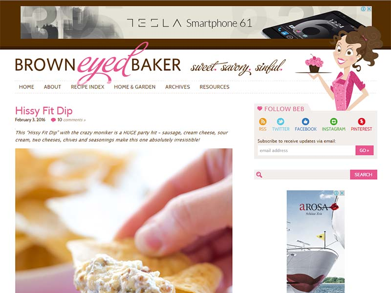 Brown Eyed Baker - Website Screenshot