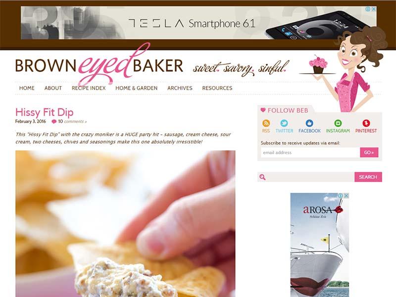 Brown Eyed Baker - Website Screenshot