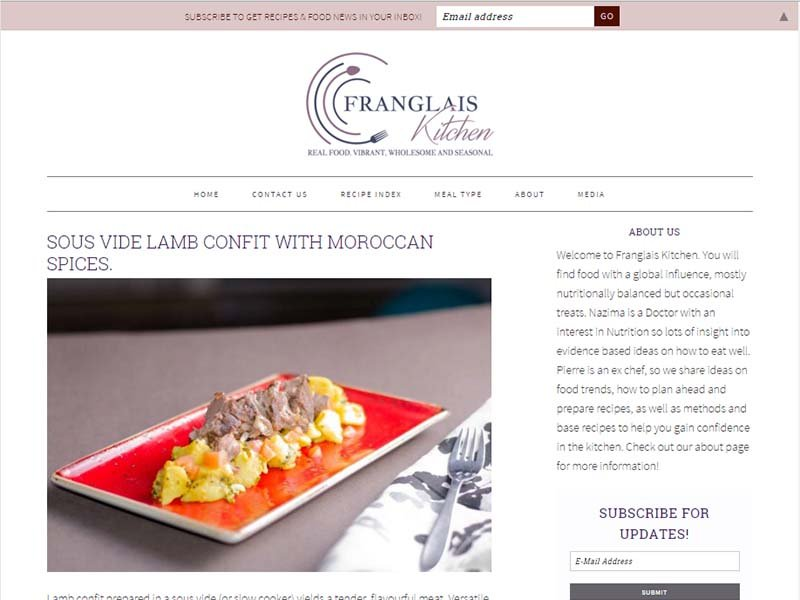 Franglais Kitchen - Website Screenshot
