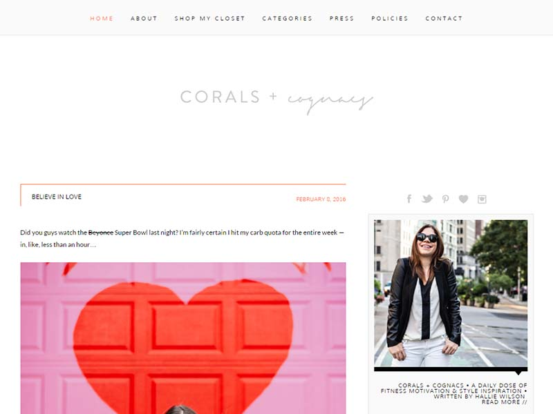 Corals + cognacs - Website Screenshot