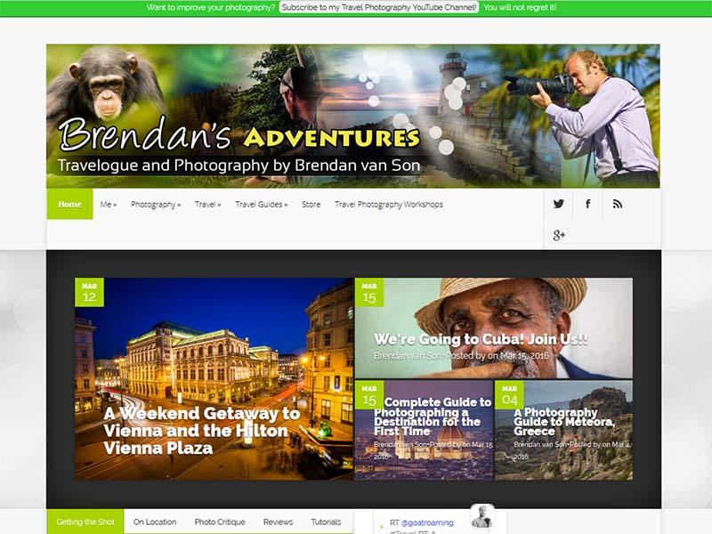 Brendan's Adventures - Website Screenshot