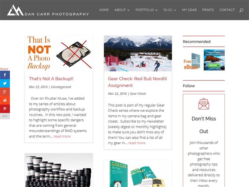 Dan Carr Photography - Website Screenshot