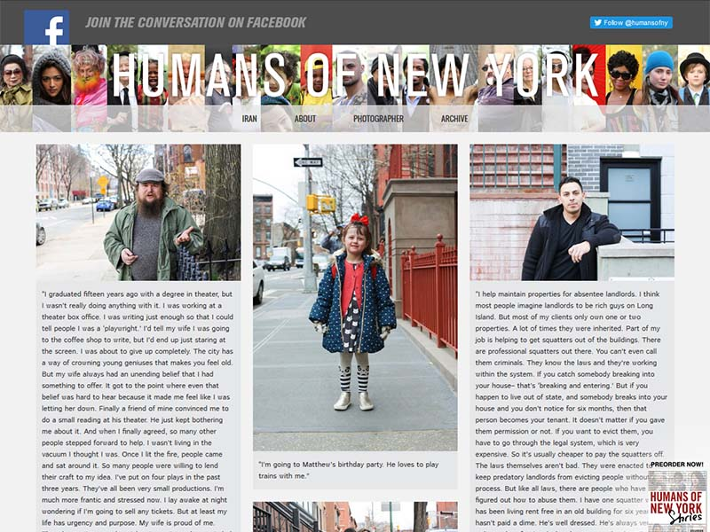 Humans Of New York - Website Screenshot