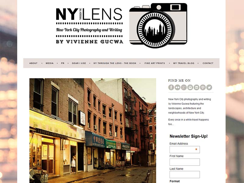 NY Through The Lens - Website Screenshot