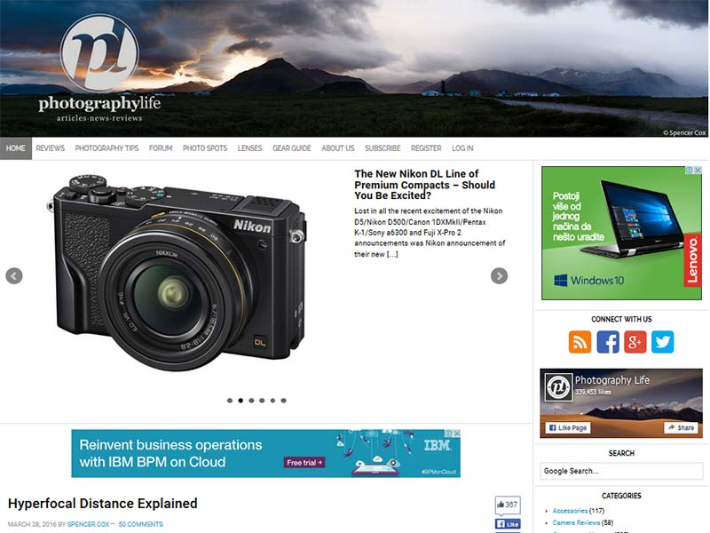Photography Life - Website Screenshot