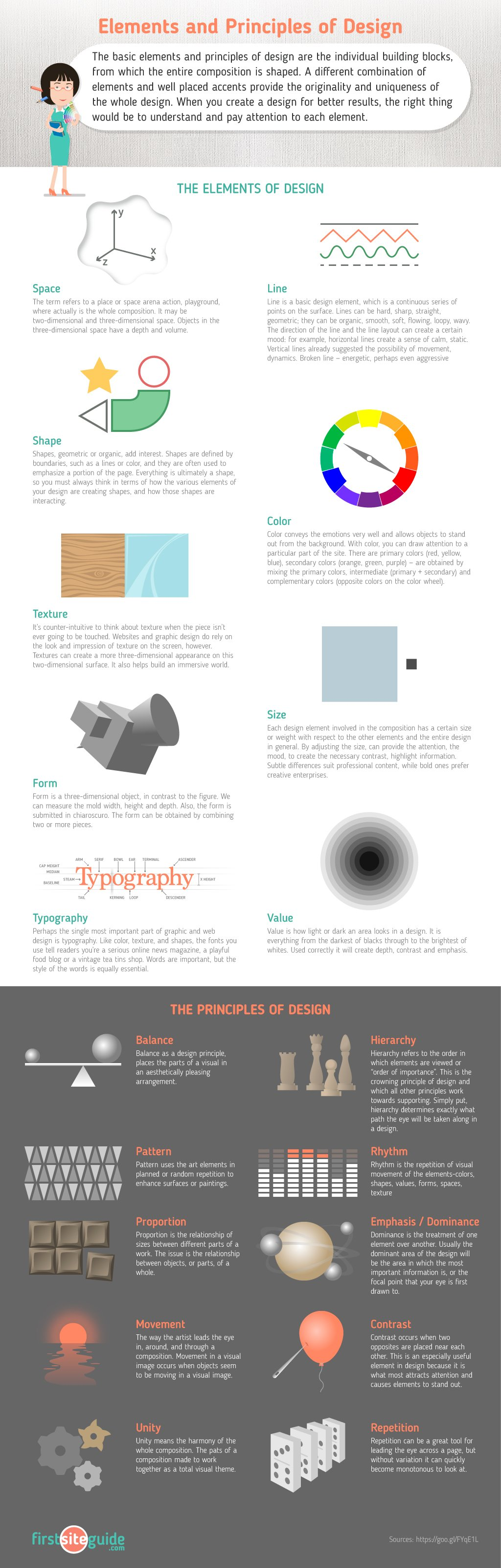 Principles Of Design List : Elements and principles of design — cheat sheet