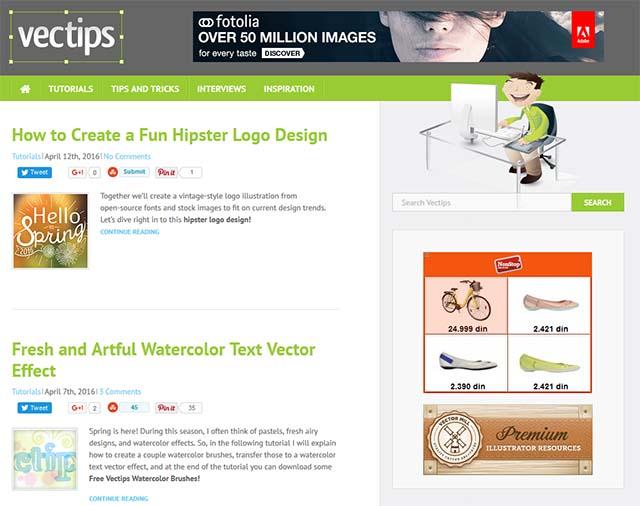 Kevin Sanderson Interview - Vectips Website Screenshot