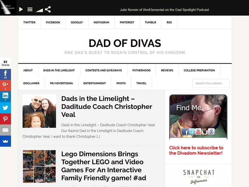 Dad Of Divas - Website Screenshot