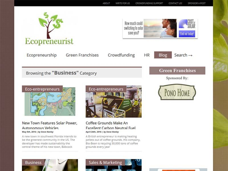 Ecopreneurist - Website Screenshot
