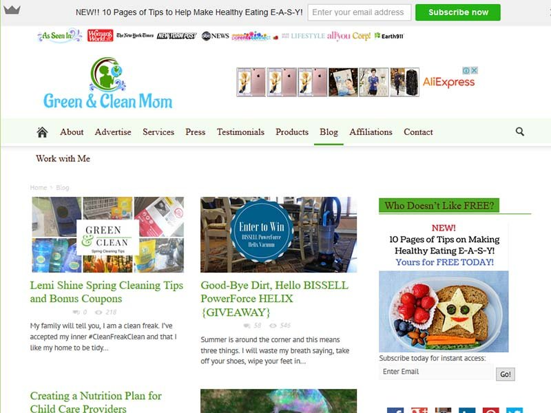Green and Clean Mom - Website Screenshot