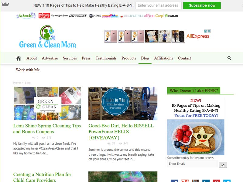Green and Clean Mom - Website Screenshot