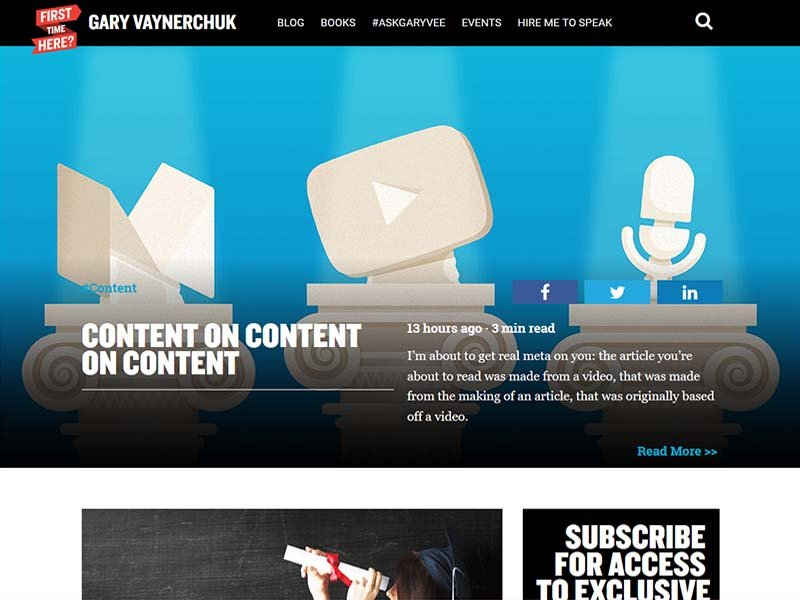 Gary Vaynerchuk - Website Screenshot