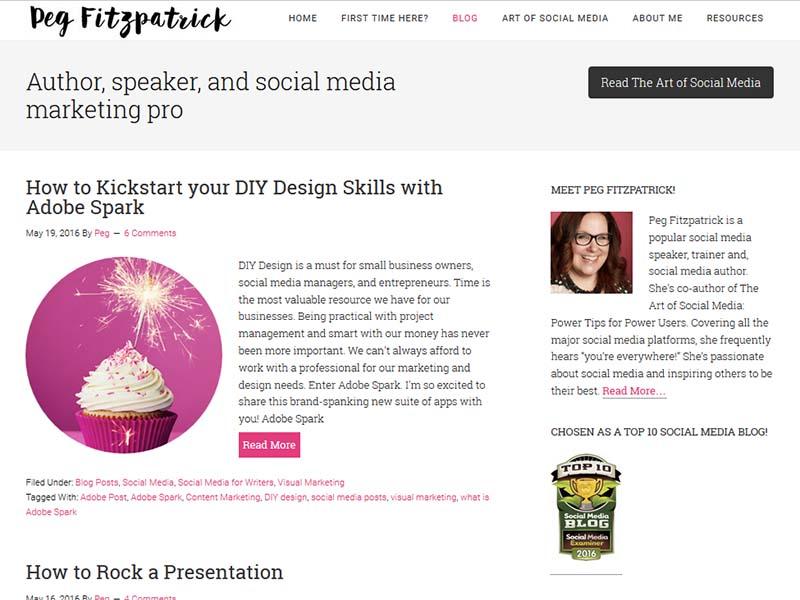 Peg Fitzpatrick - Website Screenshot