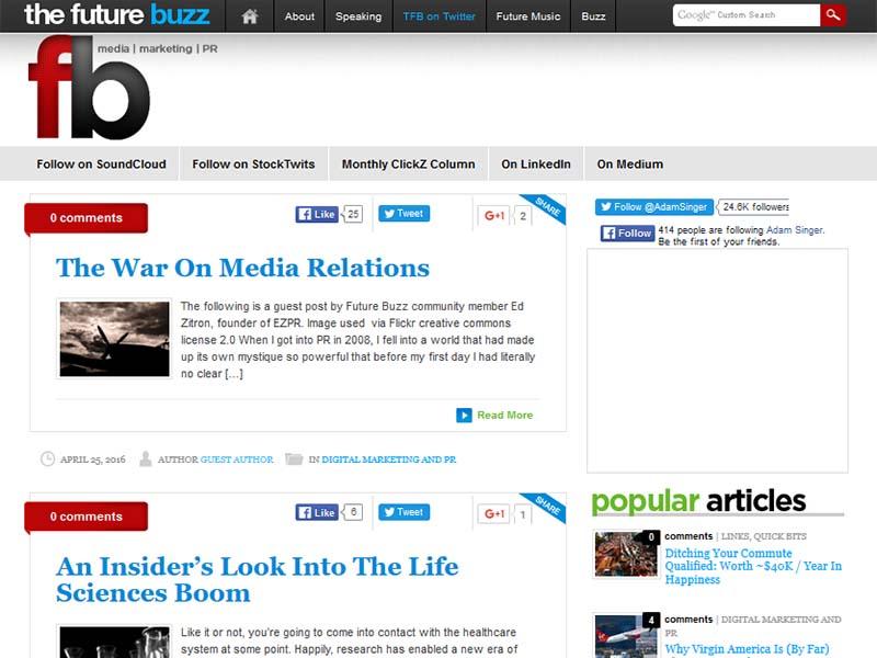 The Future Buzz - Website Screenshot