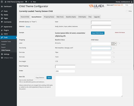 Child Theme Configurator Query/Selector