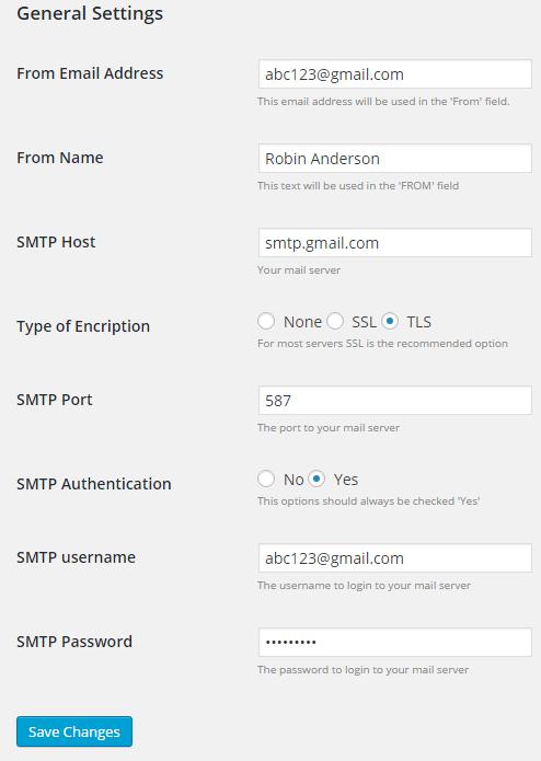 Easy WP SMTP plugin general settings
